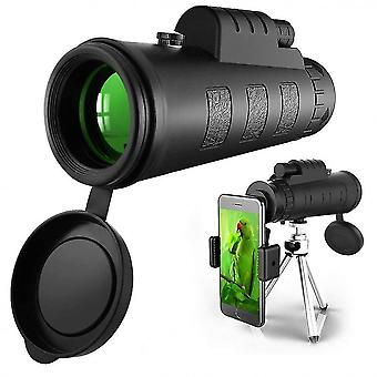 טלסקופ חד עיני 50x60, הספק גבוה HD Monocular למבוגרים עם קליפ מחזיק טלפון חצובה