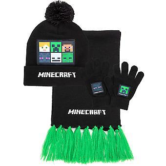 Minecraft Bobble Hat Hanskat Huivi Setti Lapset | Pojat Tytöt Musta Neulottu Beanie Hand Warmer Yhden koon | Creeper Steve Skeleton hahmot | Peli lahjatavarat