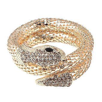 """Champagner Kristall und simuliertes schwarzes Spinell Schlange Armband 7,5"""" in vergoldet"""