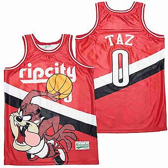 Men's Ripcity #0 Taz Red Basketball Jersey S-xxl,fashion 90s Hip Hop Clothing For Party, Stitched Letters And Numbers