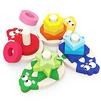 パズルおもちゃは、子供のための知的幾何学模様のパズルのおもちゃの幾何学的な積み重ねパズル教育玩具を学びます