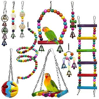 10 Pack Bird Cage Toys For Parrots Reliable Chewable Swing Hanging Chewing Bite Bridge Wooden Beads Ball Bell Toys