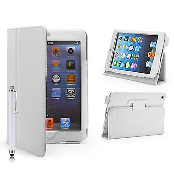 Book Leather Case Cover For Apple iPad Mini + stylus pen - White