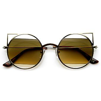 Thin Geometric Metal Cut-Out Lens Round Pointed Cateye Sunglasses