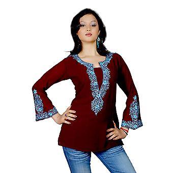 暗い茶色の長い重い刺繍袖クルティ/チュニック