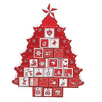 Workshop Xmas tre juletreet formet Adventskalender med skuffer, rød/hvit