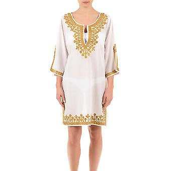 Iconique IC7-095 Women's White and Gold Embroidered Kaftan
