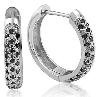 1/2ct Black Diamond Pave Hoops Earrings White Gold Womens Ladies Unique Style