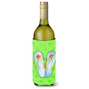 Flip Flops grüne Polkadot Wein Flasche Beverge Isolator Hugger