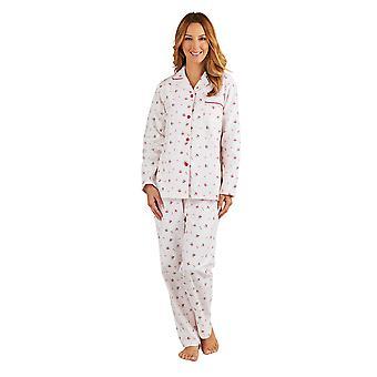 Slenderella PJ8213 Women's Pink Floral Brushed Cotton Pajama Long Sleeve Pyjama Set