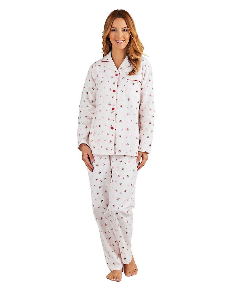 Slenderella PJ8213 Women s Pink Floral Brushed Cotton Pajama Long Sleeve  Pyjama Set 73688c7860