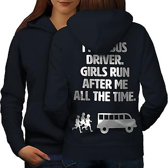 Hermoso Bus Driver mujeres NavyHoodie respaldo | Wellcoda