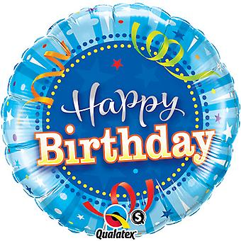 Qualatex 18 Inch Round Bright Blue Happy Birthday Foil Balloon