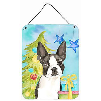 طباعة شجرة عيد الميلاد الكلب بوسطن الجدار أو الباب معلقة