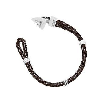 Gissning mens armband rostfritt stål läder brun UMB21515-S
