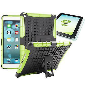 Hybride buiten beschermhoes groen voor iPad 1 airbag + 0,4 H9 getemperd glas