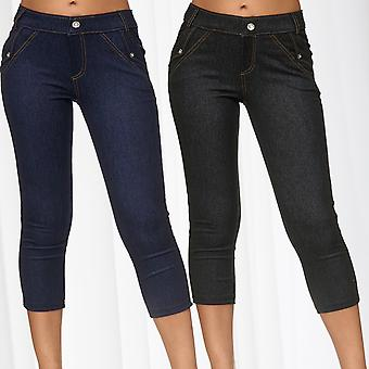 Mesdames Pantacourts Skinny Jeggings Hipsters Jeans tregging strass pousser vers le haut