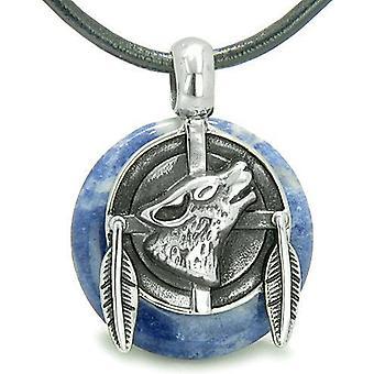 Amulet Howling Wolf fjer Medallion held og lykke beføjelser sodalit heldig Donut vedhæng halskæde