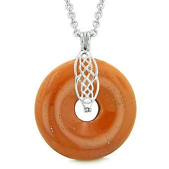 Keltischer Schild Knoten Schutz magische Kräfte Amulett roter Jaspis Glück Donut Anhänger 18-Zoll-Halskette
