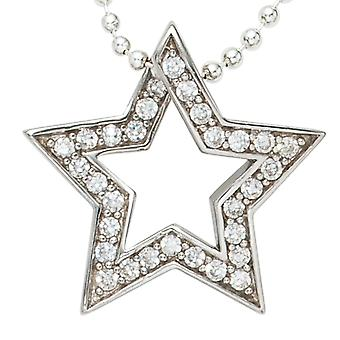 Pendant star ALICE rhodium-plated sterling silver cubic zirconia