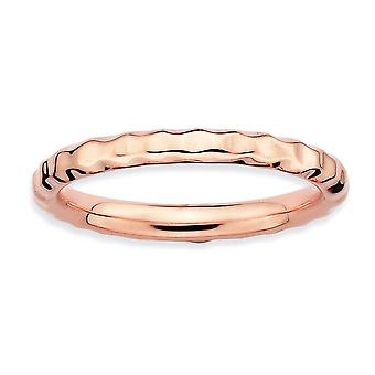 925 sterling sølv polert mønstret stables uttrykk rosa belagt hamret ring smykker gaver til kvinner - ring Si