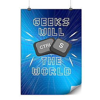 Matte or Glossy Poster with Geek Superhero Funny | Wellcoda | *y3465
