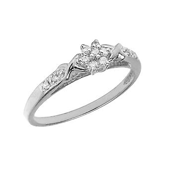 Anillo de racimo de diamantes de plata esterlina LXR