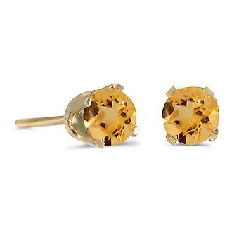 LXR 14k Gelbgold 4 mm Rund Citrin Stecker Ohrringe 0.36 ct