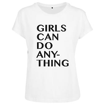 Mister tee ladies top - girls can do anything white