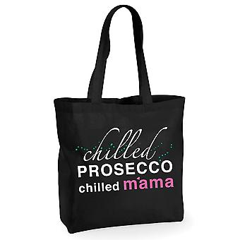 Chilled Prosecco Chilled Mama Black Cotton Shopping Bag