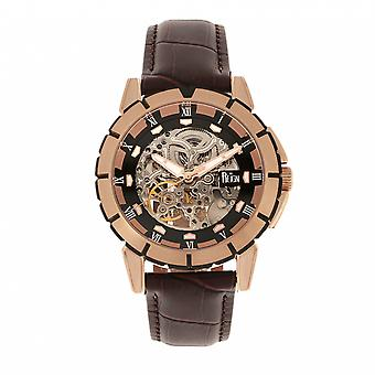 Reign Philippe Automatic Skeleton Leather-Band Watch - Rose Gold/Black