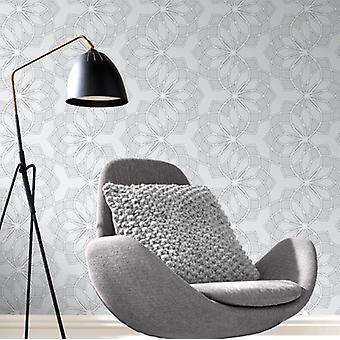 Geometric Wallpaper Modern Glitter Embossed Bold Funky Grey Silver White Rasch