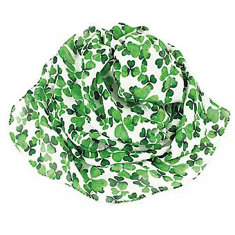 Eternal Collection Irish Shamrock Green And White Multi Coloured Pure Silk Scarf