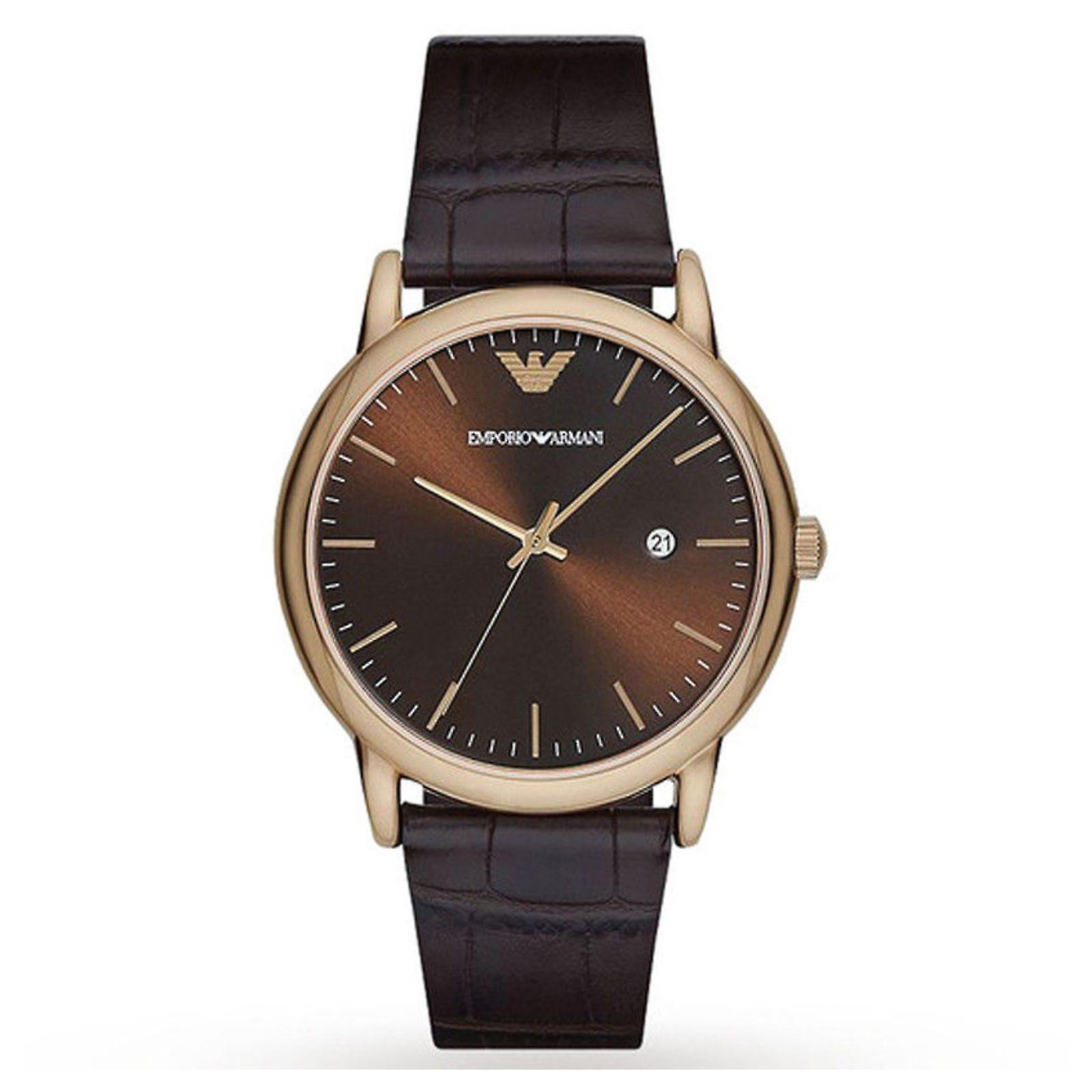 Gents Armani Luigi Sunray brun hommes cadran brun Wrist Watch AR2503