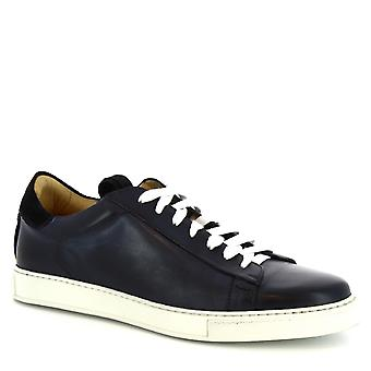 Leonardo Shoes men's handmade sneakers in blue calf leather and white laces