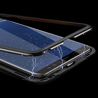 Für Huawei Y7 2019 Magnet / Metall / Glas Case Bumper Schwarz / Transparent Tasche Hülle Etuis Neu