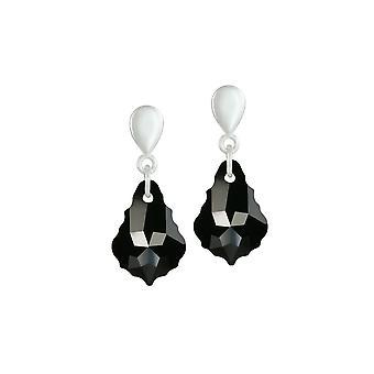 Eterna colección barroco Jet negro plata de cristal austríaco tono gota perforado pendientes