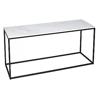 Gillmore White Marble And Black Metal Contemporary TV Stand