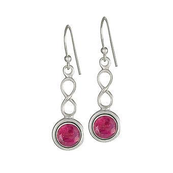 Ewige Sammlung Juli Ruby Birthstone Sterling Silber Tropfen Ohrringe durchbohrt