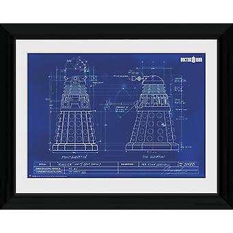 Doctor Who Dalek blauwdruk ingelijst Collector Print 40x30cm