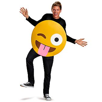 Tongue Out Emoticons Face With Stuck-Out & Winking Eye Emoji Womens Mens Costume