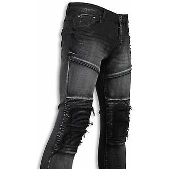 Biker Jeans - Slim Fit Biker Knees Jeans - Grey