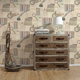 A.S. Creation AS Creation Books Pattern Wallpaper Feather Time Motif Library Embossed Vinyl 335381