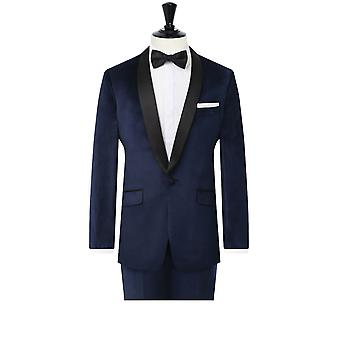 Dobell Mens Navy Velvet 2 Piece Tuxedo Slim Fit Contrast Shawl Lapel