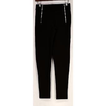 Kate & Mallory Leggings Knit w/ Front Zippers Chocolate Brown A426783