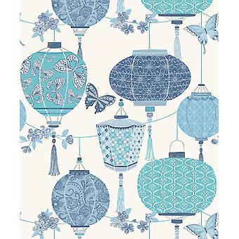 Butterfly Chinese Lantaarns Oriental Wallpaper Blauw Roze Zilver Metallic Rasch