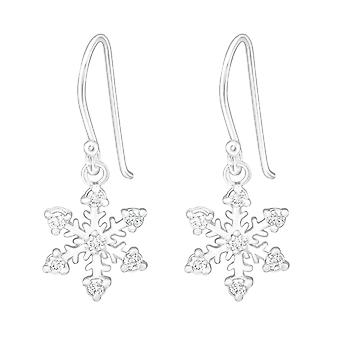 Flocon de neige - 925 argent Sterling Cubic Zirconia boucles d'oreilles - W5790X
