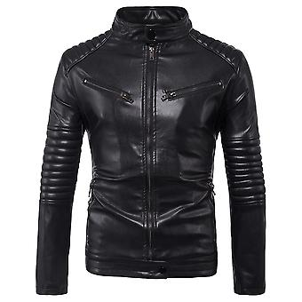 Allthemen Men's Leather Coat Fold Decoration Slim Fit Stand Collar PU Jacket