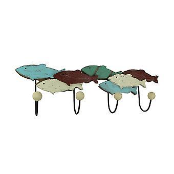 Wieszak ścienny kolorowe drewniane i metalowe szkoły ryb