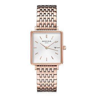 Rosefield QWSR-Q18 Watch - Bo tier m tal gold rose shiny white dial with dateur gold gold bracelet pink Women